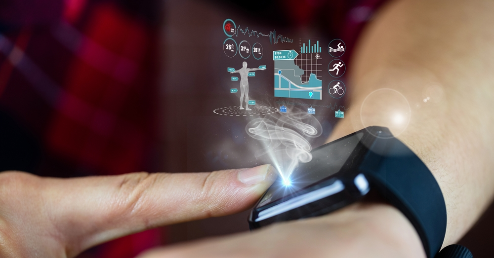 Digital composition of hand using a smart watch and futuristic interface