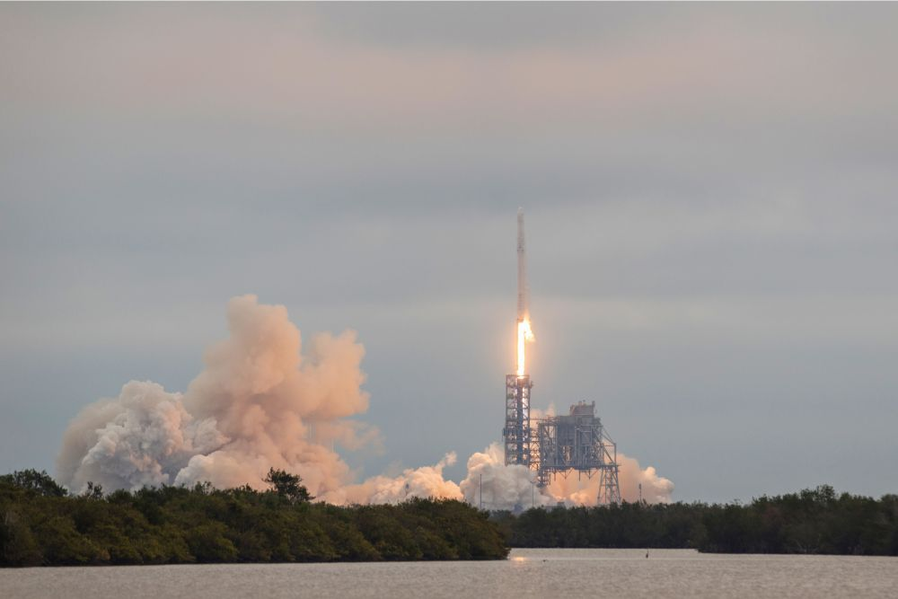 CAPE CANAVERAL, FL - FEB 19, 2017: SpaceX debuts Falcon 9 launch from 39A with CRS-10 Dragon mission.